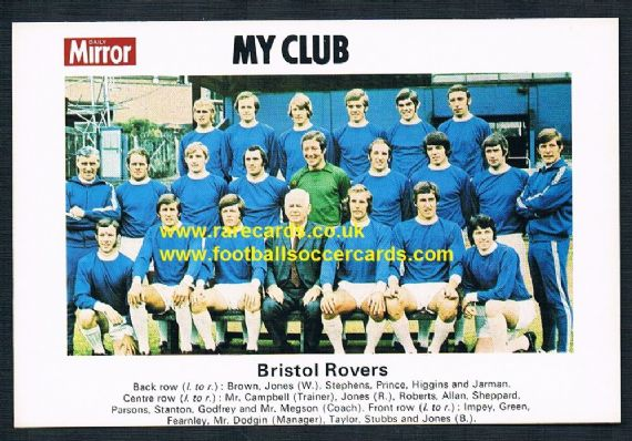 1970 My Club Daily Mirror postcard-size card Bristol Rovers